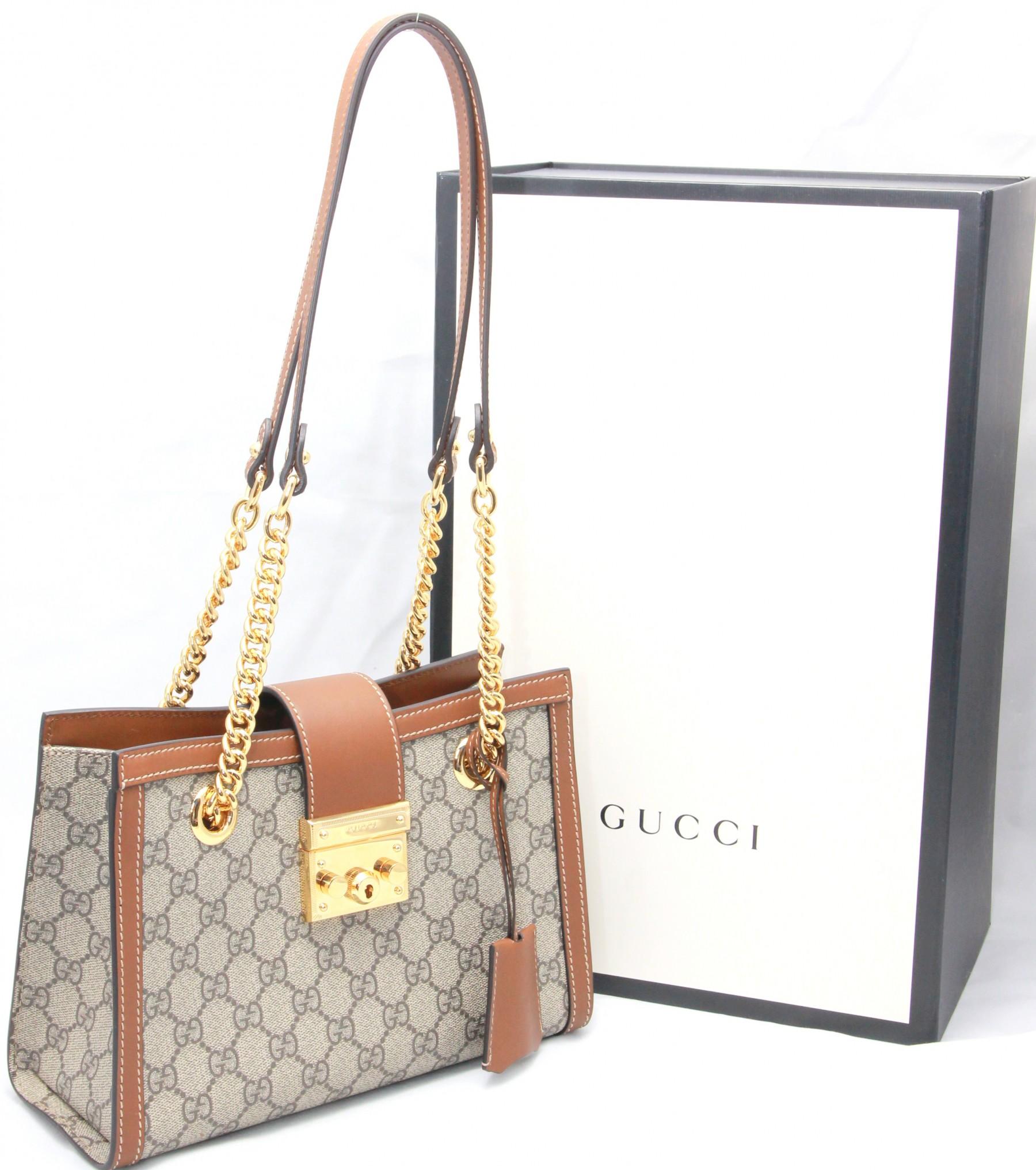 40a2f48cb Sold ! GUCCI Padlock Small Gg Supreme Canvas Shoulder Bag in Neutrals