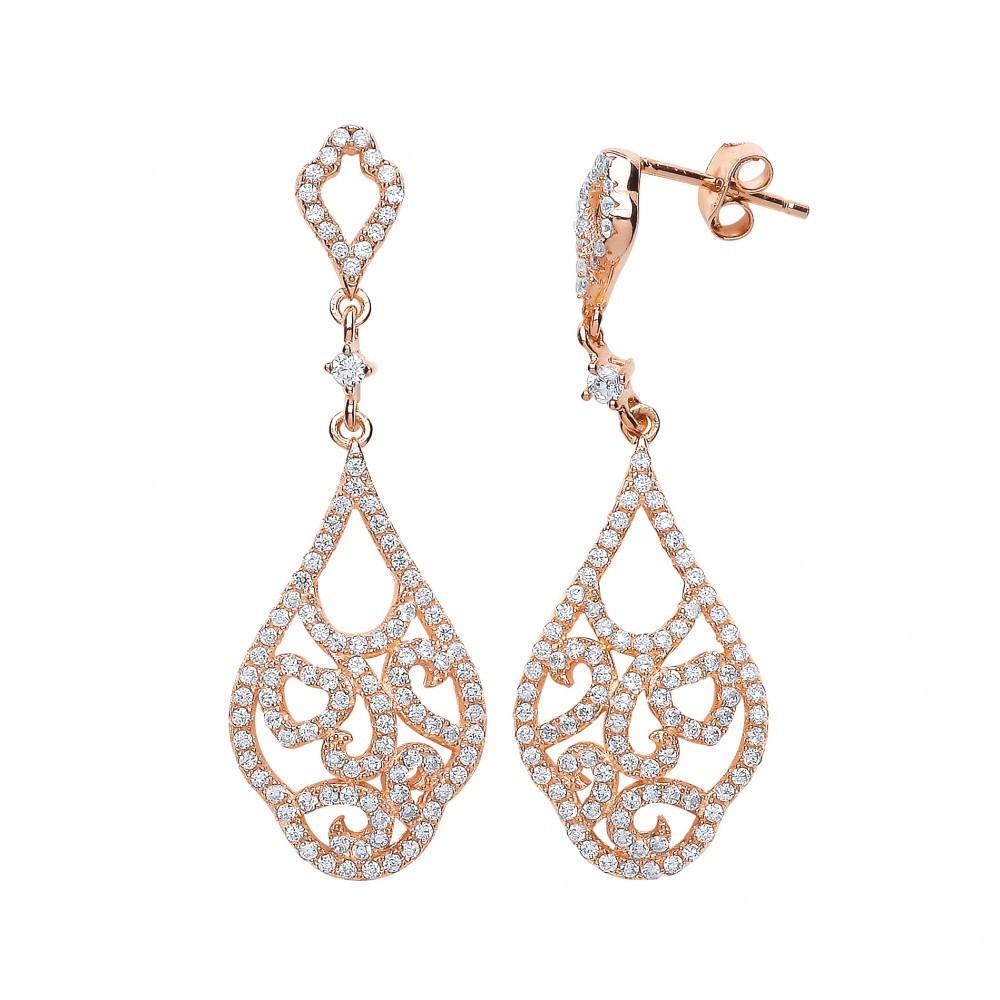 2b4ea00e78d07 Rose Gold Plated Cubic Zirconia Fancy Drop Earrings