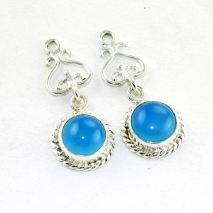 Solid 925 Sterling Silver Blue Chalcedony Earrings