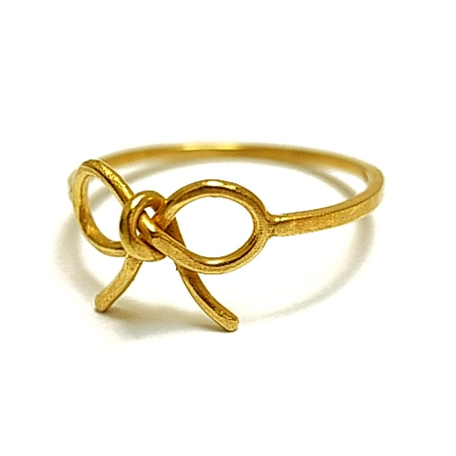 Silver Goldplated Bow Ribbon Knot Ring by flowerie88
