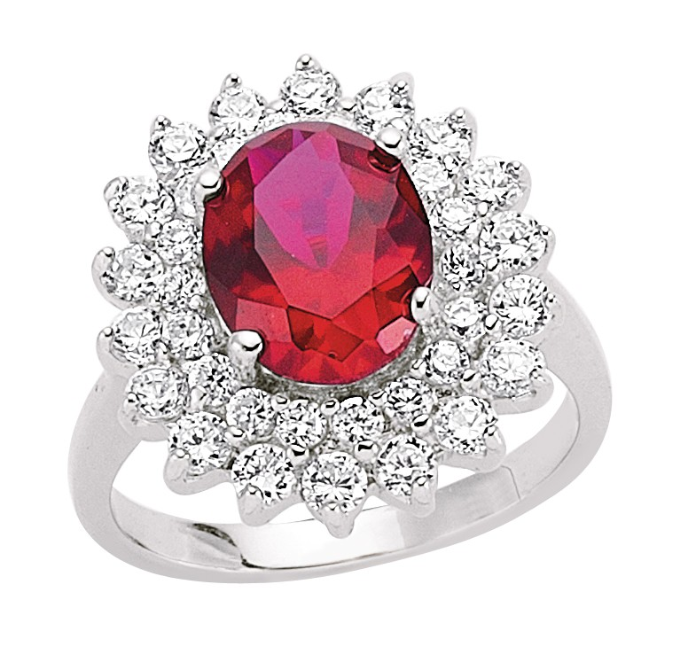 Silver Ruby And Cubic Zirconia Cluster Ring