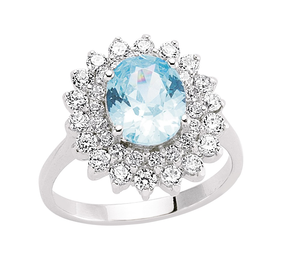 Stunning Blue Topaz Cluster Ring