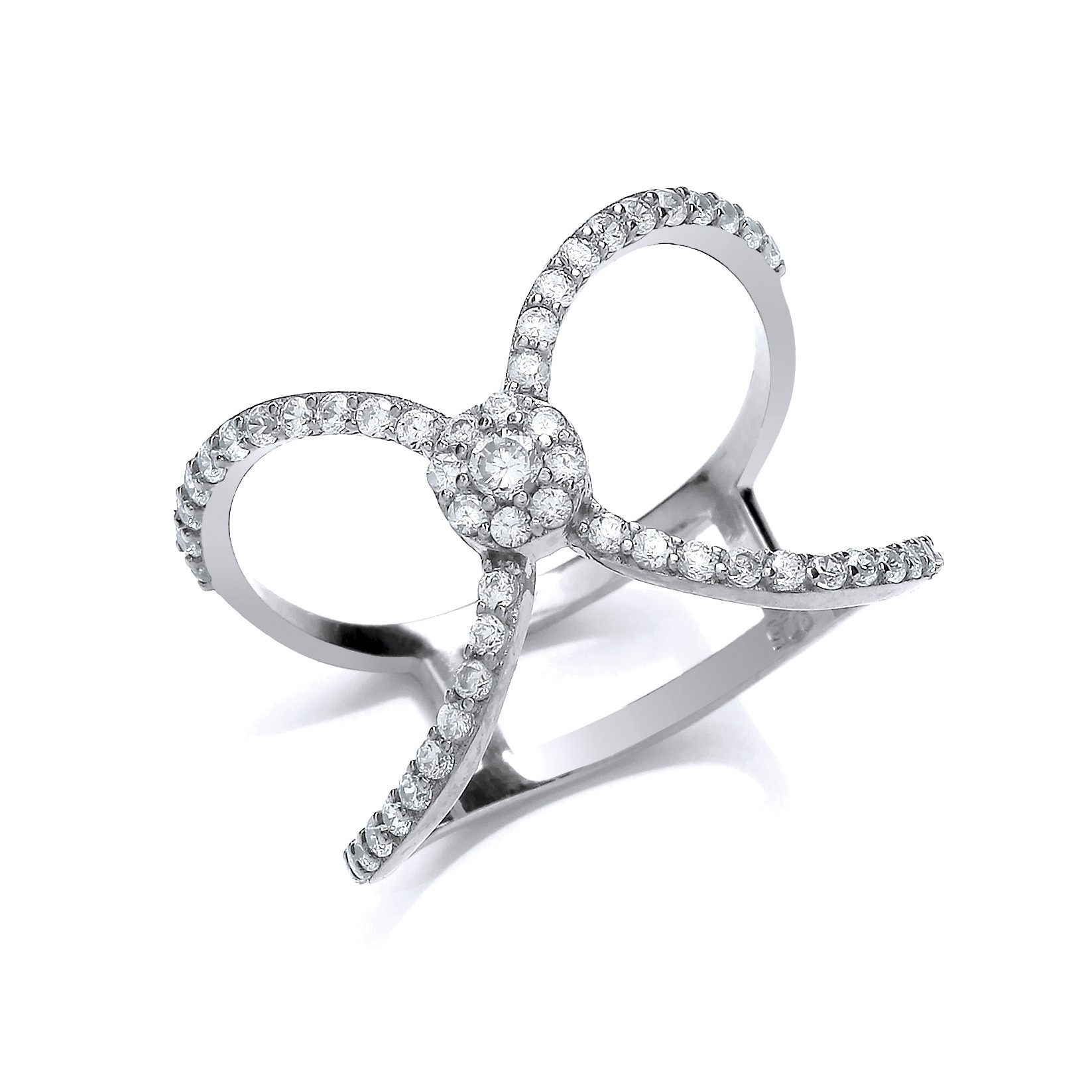 Silver And Crystal Dress Ring