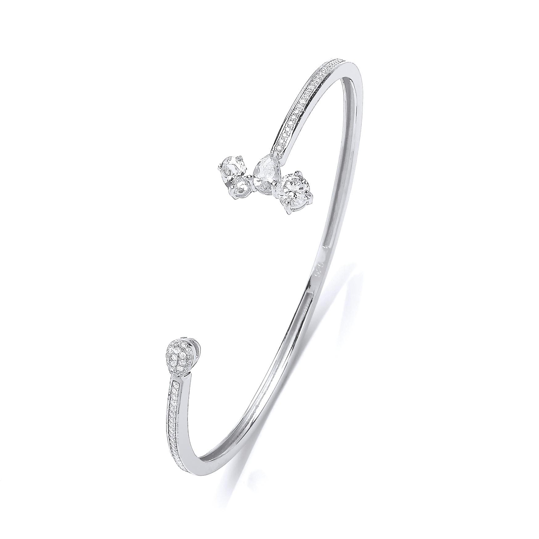 Rhodium And Silver Crystal Bangle