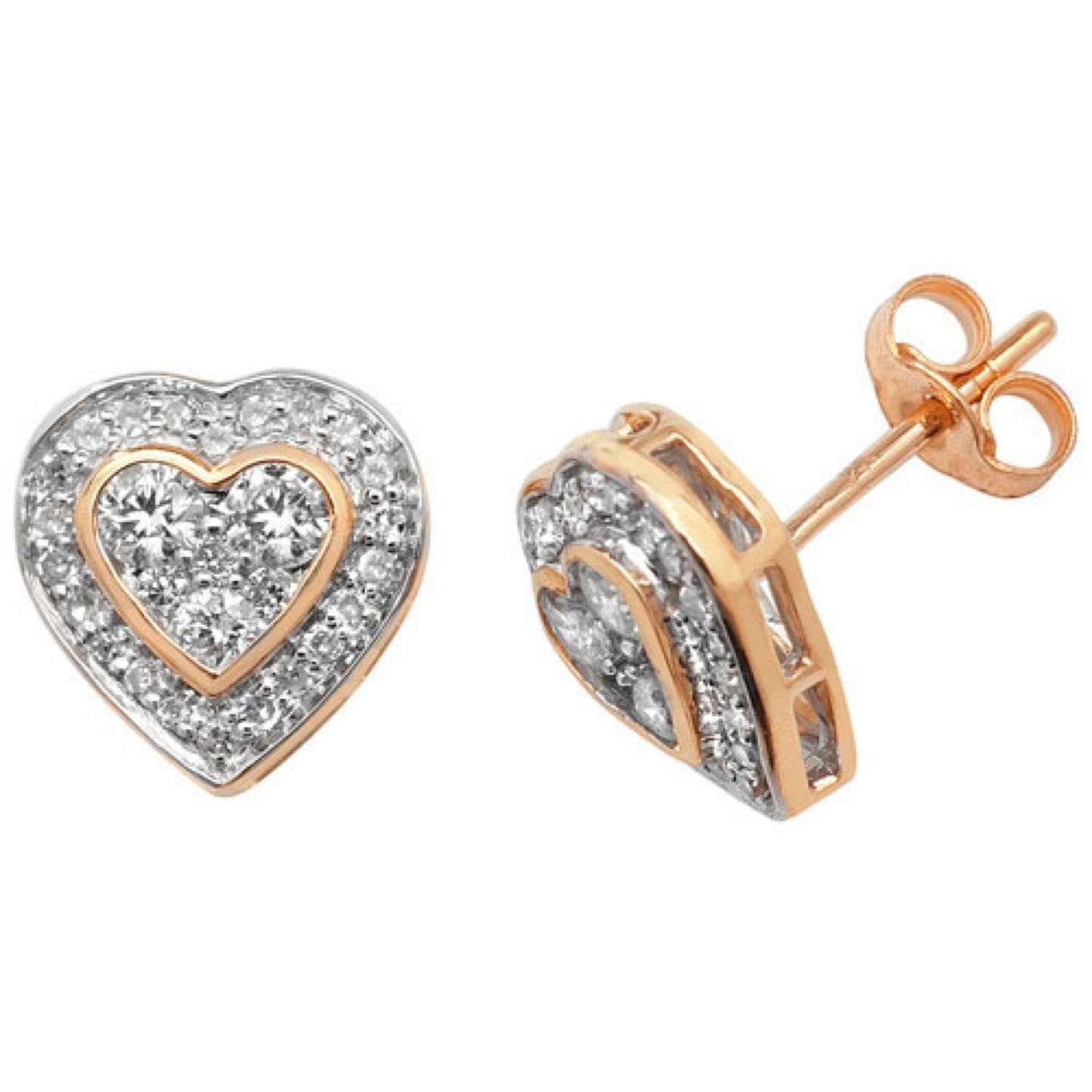 9ct Yellow Gold Half Carat Diamond Set Heart Pattern Stud Earrings