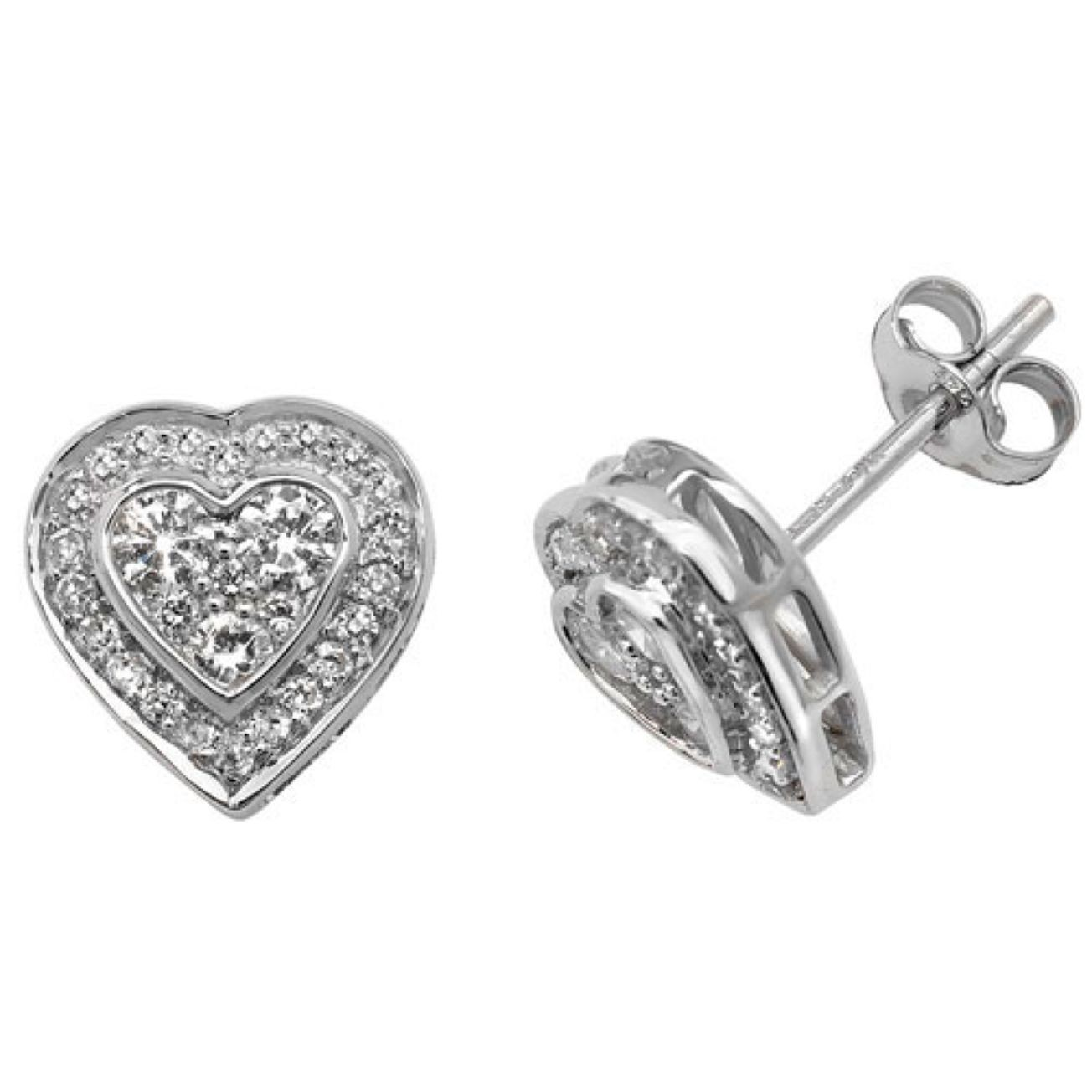 9ct White Gold Half Carat Diamond Set Heart Pattern Stud Earrings
