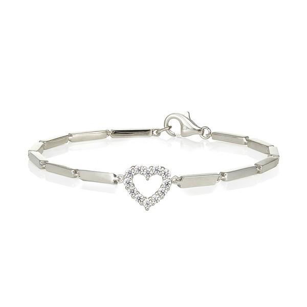 Swarvoski Heart Charm Silver Bracelet