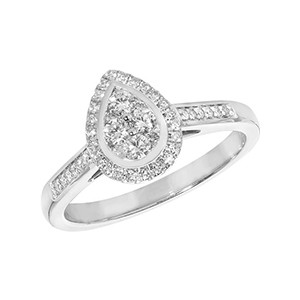 Diamond Cluster Pear Ring