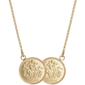 9ct St George Double Coin Necklace