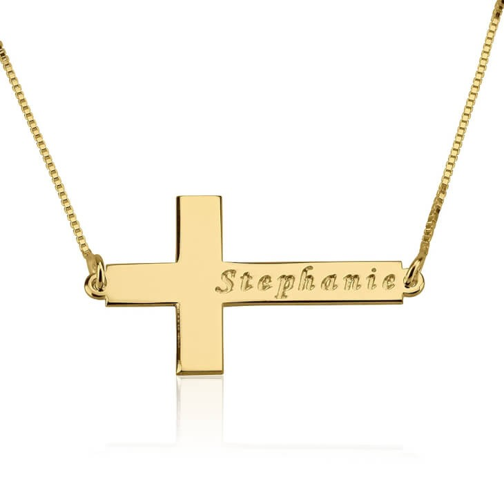 24K Gold Plated Sideway Cross Necklace with Name