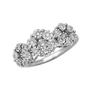 Flower Set Diamond Ring In White Gold