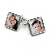 Rhodium Plated Square Photo Cufflinks