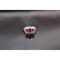 Stunning 1920's Art Deco Diamond & Ruby Cluster Ring