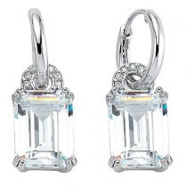 Stunning Silver Drop Earrings With Emerald Shaped Cubic Zirconia