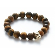 MATTE TIGER'S EYE/GOLD WOLF BRACELET