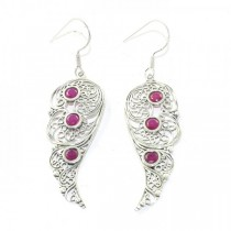 Beautiful Ruby Cut Sterling Silver Earrings