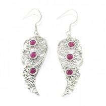 Beautiful Ruby Cut Sterling Silver Earrings