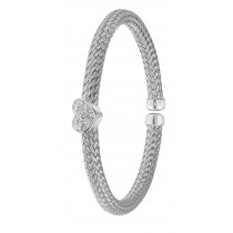 Sterling Silver Heart Bangle With Rhodium Plate