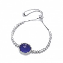 Silver Cubic Zirconia Adjustable Bracelet With Blue Stone