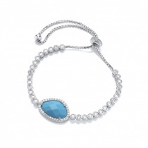 Silver Cubic Zirconia Ajustable Bracelet With Turquoise Colour Stone