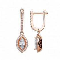 Rose Gold Plated Cubic Zirconia Marquise Design Earrings