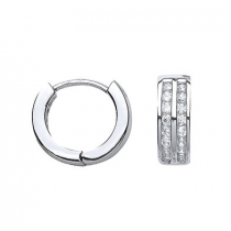 Stunning Sterling Silver & Cubic Zirconia Stone Hoop Earrings.