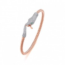 Rose Gold Plated Cubic Zirconia Panther Bangle