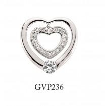 Silver Cubic Zirconia Double Open Heart Pendant
