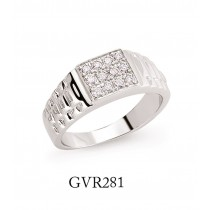 Silver Gents Cubic Zirconia Signet Ring With Watch Strap Sides
