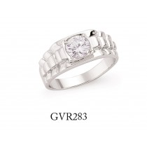 Silver Gents Cubic Zirconia Centre Dress Ring