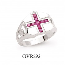 Silver Gents Signet Ring With A Red Cross