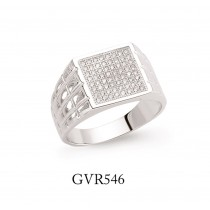 Gents Silver Cubic Zirconia Signet Ring