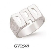 Silver Plain Dad Ring With Barked Sides