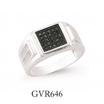 Gents Silver Cubic Zirconia Micro Pave Black Rhodium Signet Ring