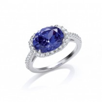 Silver Cubic Zirconia And Synthetic Tanzanite Solitaire Ring