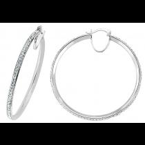 Stunning Sterling Silver Cubic Zirconia Stone  Hoop Earrings