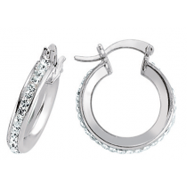 STUNNING STERLING SILVER CUBIC ZIRCONIA STONE SMALL HOOP EARRINGS
