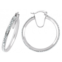 STUNNING STERLING SILVER CUBIC ZIRCONIA STONE HOOP EARRINGS