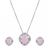 Silver Rose Quartz Necklace & Earring Set
