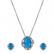 Stunning Silver & Blue Zirconia Necklace & Earring Set