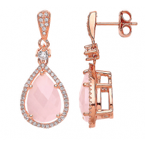 Rose Gold On Silver Drop Earrings With Rose Quartz Colour Stone