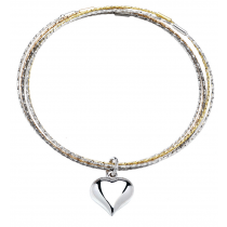 Stunning Tri - Colour Slave Bracelet With Silver Heart Charm