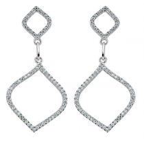 Silver And Cubic Zirconia Fancy Cut Out Earrings