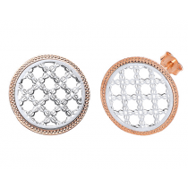 SILVER AND ROSE GOLD PLATED ROUND MESH DESIGN EARRINGS