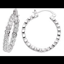 Silver Cubic Zirconia Chanel Set Hoop Earrings