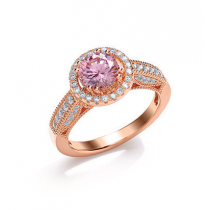 Rose Gold Over Silver C/Z & Pink Synthetic Sapphire Ring