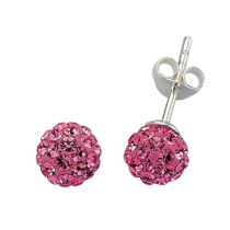 Bon Bon Crystal Stud Earrings - Cerise Pink