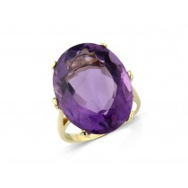 9ct Yellow Gold Oval Cut Amethyst Ring