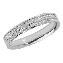 18ct White Gold 0.22ct Diamond Two Row Wedding Band
