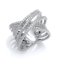 Fancy Criss Cross Rhodium Plated Dress Ring